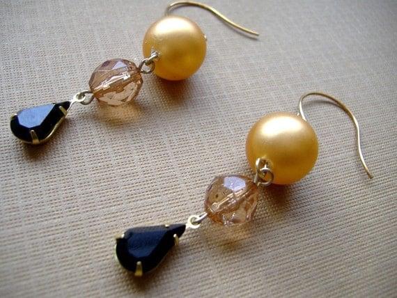 SALE Evening Elegance Vintage Bead and Crystal Dangle Earrings