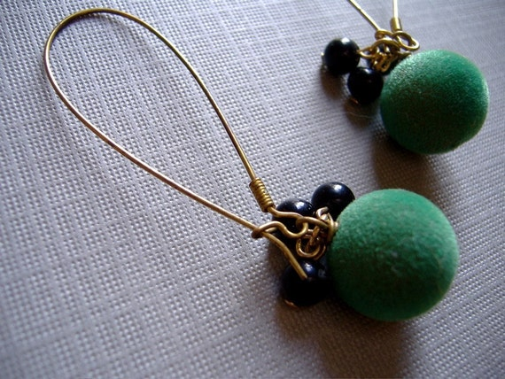 Vintage Felt Earrings Fern Green Dangles -Limited Edition (featured on Etsy's front page)