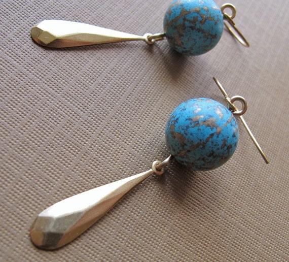 Brass Earrings, Teardrop Charm, Vintage Beads, Repurposed Jewelry 'Vivacious Verdigris' by Glamourpuss Creations on etsy