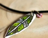 Green Feather  - braided cord necklace
