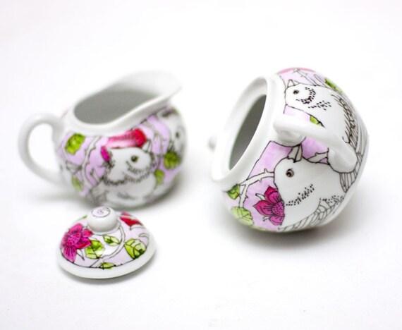 Sugar bowl and milk jug - Birds in the roses