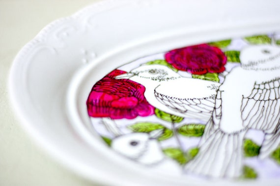 Birds and Roses Large Serving Plate