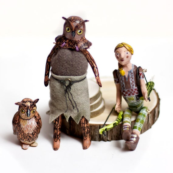 Birgitta and the 3 animal spirits  - Art doll - the spirit of owl