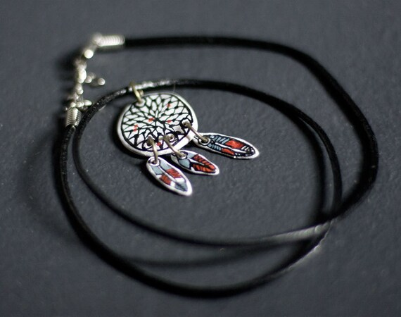 Dreamcatcher - leather cord necklace