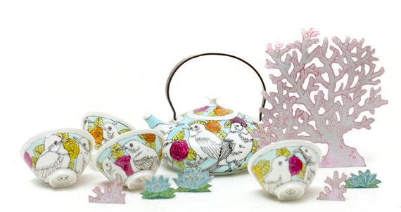 Japanses tea set - birds and roses