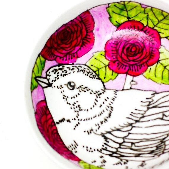Tapas plate - pink bird