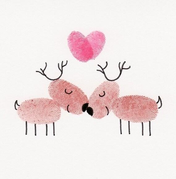 SALE Kissing Reindeer Card
