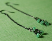 Long Chain and Chrysoprase Earrings