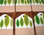 Set of 6 funky tree gift tags