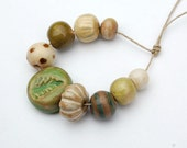 RESERVED for the lovely HeatherFig / Green Tea / Handmade Ceramic Bead Bundle