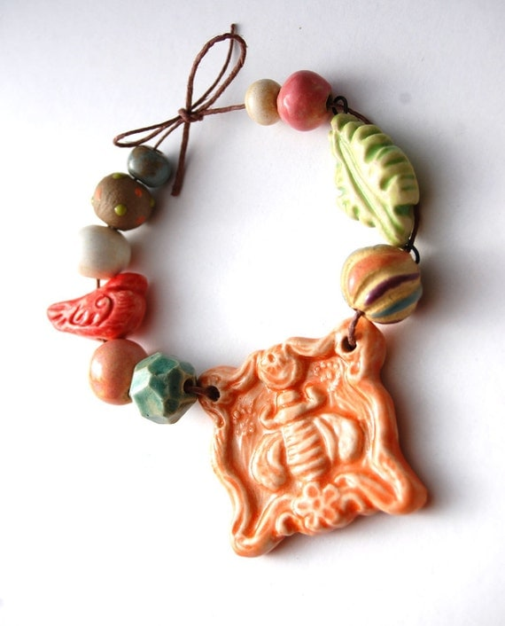 The Birds and the Bees / Ceramic Bee Pendant and Bead Set