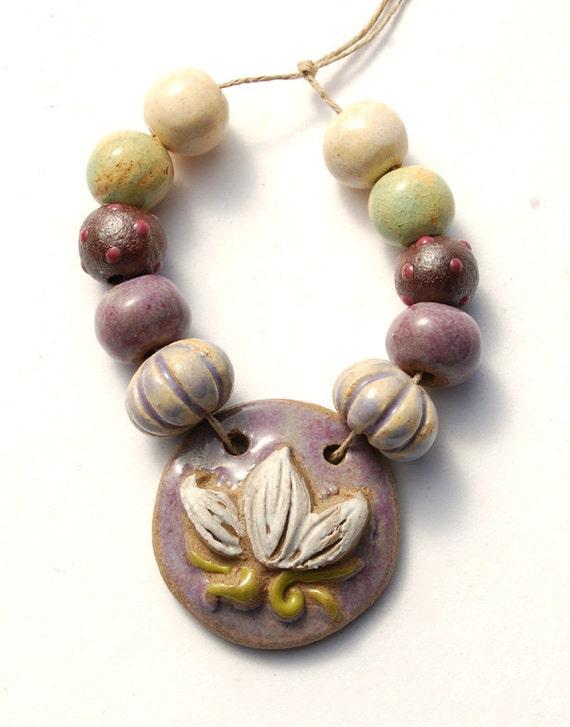 Spring Lotus / Handmade Ceramic Lotus Pendant and Bead Set