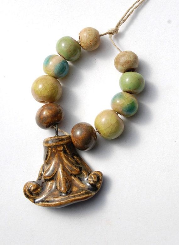 Corinthian / Earthy Ceramic Pendant and Bead Set