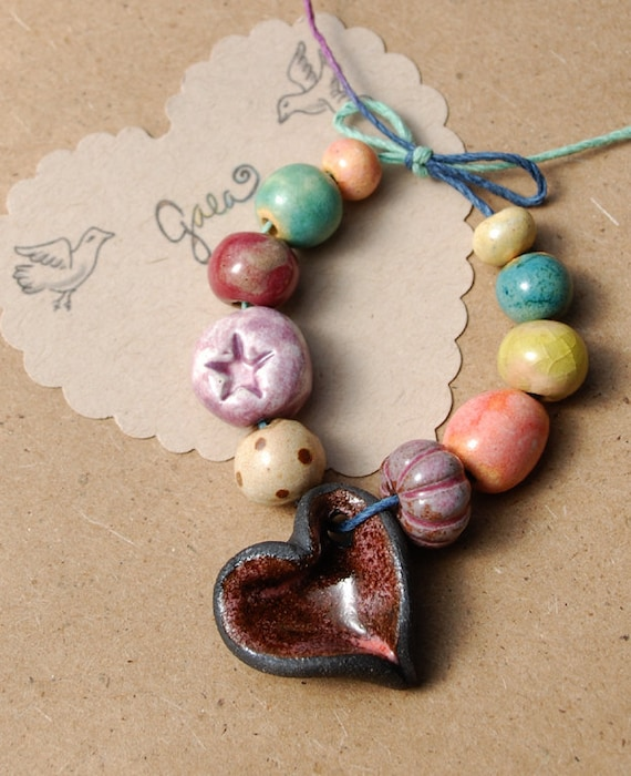 RESERVED for the wonderful HippieChickDesign / Deep Love / Earthy Ceramic Open Heart Charm and Bead Set