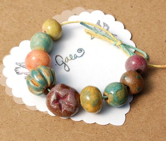 RESERVED for the fantastic CJ08 / Garden Dreamer / Garden Inspired Ceramic Bead Set