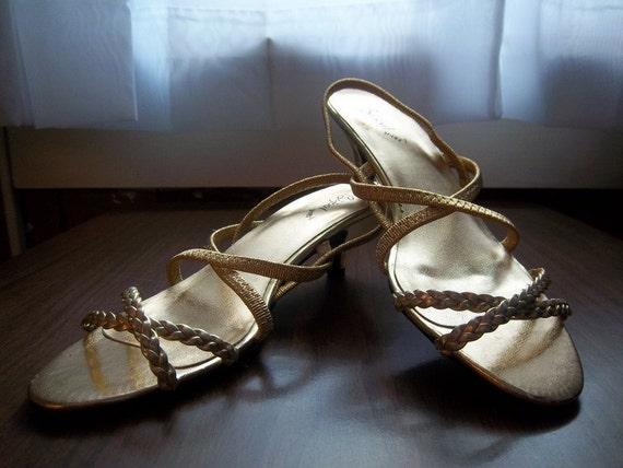 vintage 80s deadstock strappy bijou shoes 7.5 8