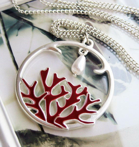 Coral Necklace, Red Nautical Necklace, Silver Pendant, Long Silver Chain - RED CORAL