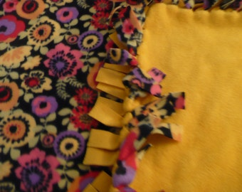 Black  background multi-colored floral / marigold SMALL size fleece tie blanket -can be personalized