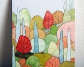 Lovely Landscape Art Postcard - based on original watercolor painting