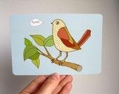 Bird Tweet Art Postcard - based on original drawing