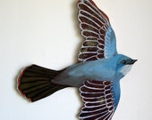 Blue Bird Cutout Painting - handcut, handpainted acrylic on birch ply - courtneyoquist