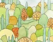Perfect Landscape Art Print - from original watercolor painting of lovely trees