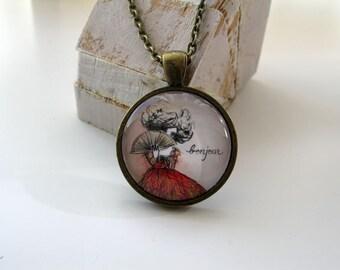 Bonjour - mini print necklace pendant and chain