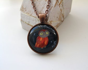 Night Owl - mini print necklace pendant and chain