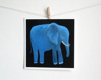 Blue Elephant Art Print - 8 x 8 inches / square print