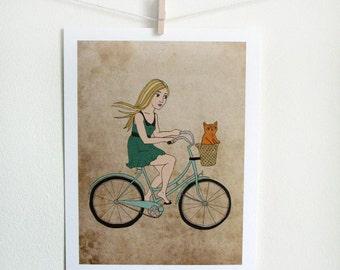 Bike Girl Art Print with little orange cat