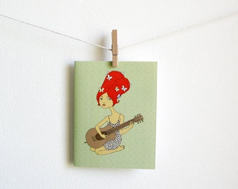 Guitar Girl with butterflies - Greeting Card - blank inside with matching white envelope