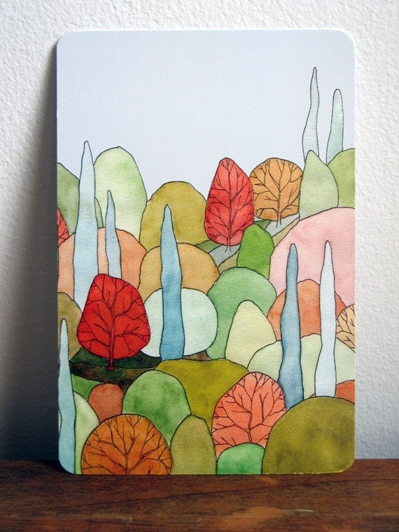Lovely Landscape Art Postcard - based on original watercolor painting