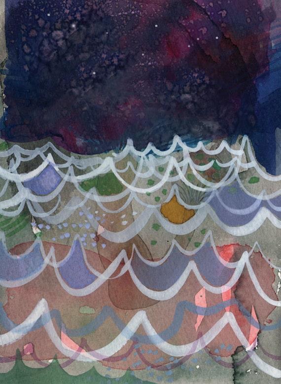 Night Ocean - art print of original watercolor and gouache painting 5 x 7