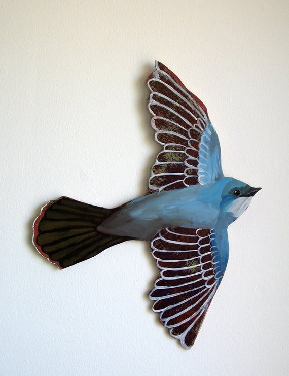 Blue Bird Acrylic Painting - handcut, handpainted acrylic on birch ply wood