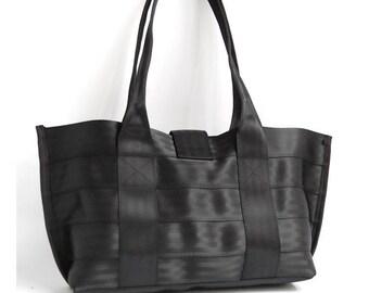 The Everyday Bag - Black Purse from Recycled Seatbelts - Shoulder Bag / Handbag Black
