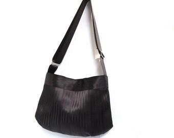 The Parenthesis Bag - Black Seatbelt Bag - Cross-body Seatbelt Purse - Adjustable Strap / Shoulder Bag