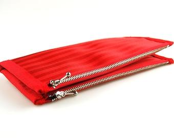 Women's Double-Zipper Seatbelt Wallet in Red