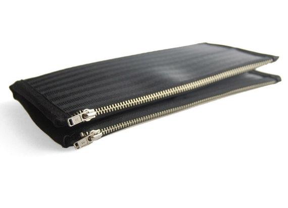 Women's Double-Zipper Seatbelt Wallet in Black, Womens Wallet, Womans Wallet