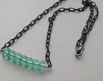 Aqua Ice - Aqua Quartz and  Gunmetal Necklace