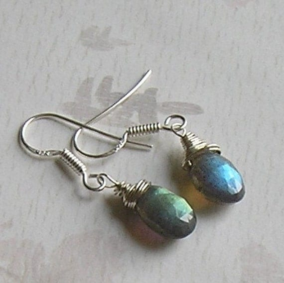 Labradorite Pear Shape Faceted Brios, Wire Wrapped  Sterling Silver Earrings