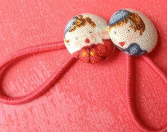 Valentine's Fabric Buttons Pony tail holders