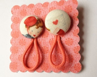 Valentine's Fabric Buttons Pony tail holders  Love Letter