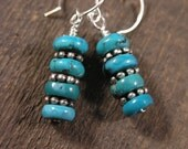 Genuine turquoise stones and silver handmade southwestern style earrings