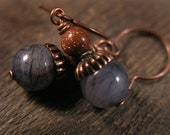 soho jade stone, sparkling goldstone and copper earrings