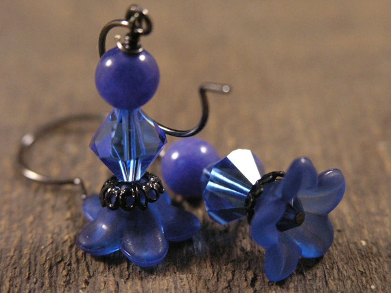 frosted bright royal blue flowers with swarovski crystals and stone earrings
