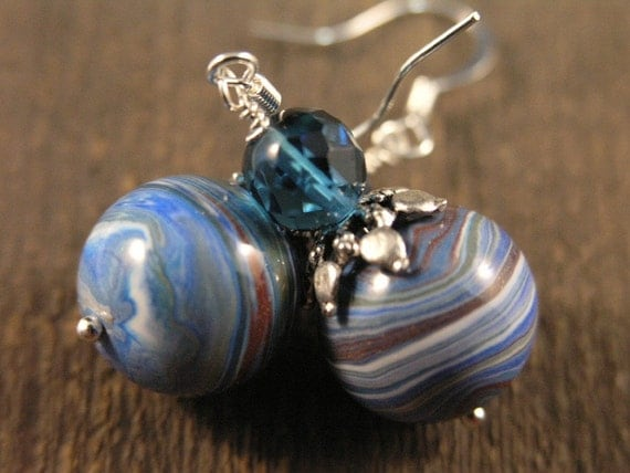 blueberry quartz stone, handmade polymer clay beads and silver earrings