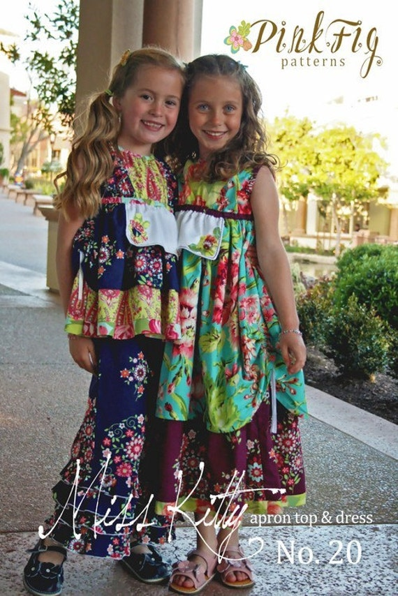 SALE - Miss Kitty Apron Top and Dress Sewing Pattern from Pink Fig Patterns