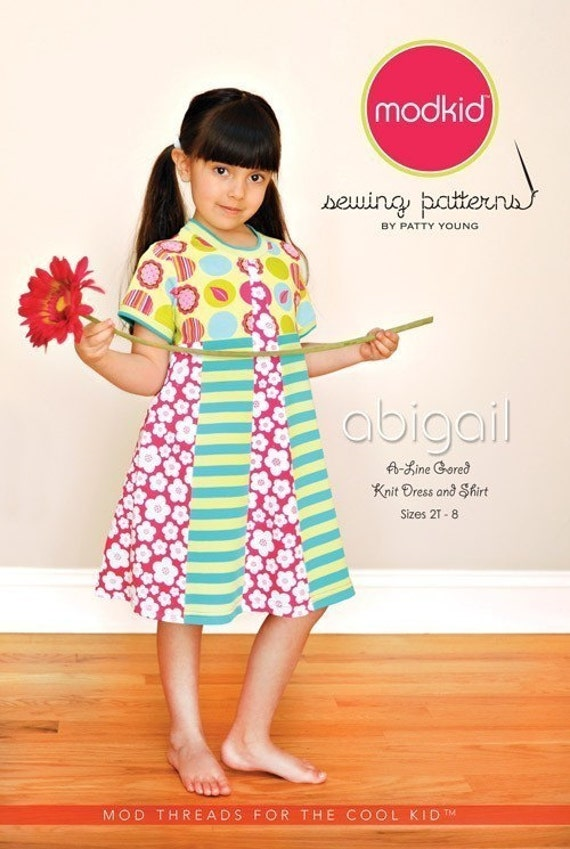 SALE-Abigail A-line Gored Knit Dress and Shirt sewing pattern from Modkid Boutique Patty Young