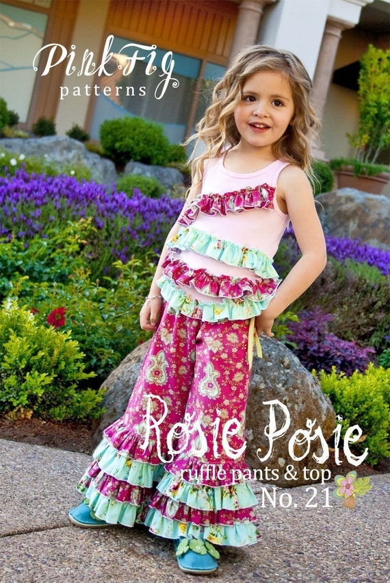 SALE - Rosie Posie Ruffle Pants and Top Sewing Pattern from Pink Fig Patterns