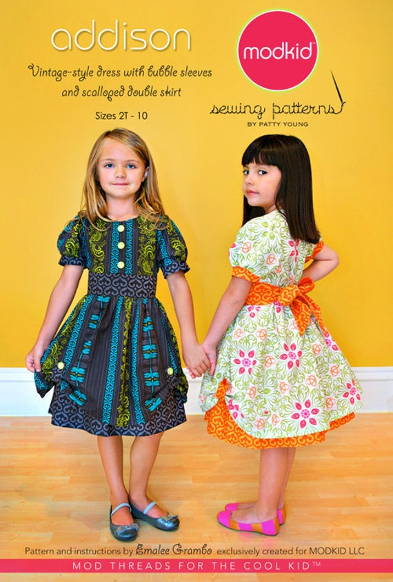SALE - Addison dress sewing pattern from Modkid,  sizes 2T-10